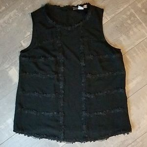 ☀️3/$25 Forever 21 Lace Trim Black Top Small D5